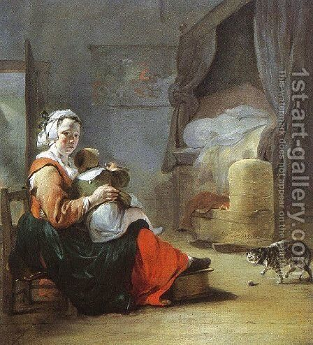 Mother and Child with Cat 1647 by Jan Baptist Weenix - Reproduction Oil Painting