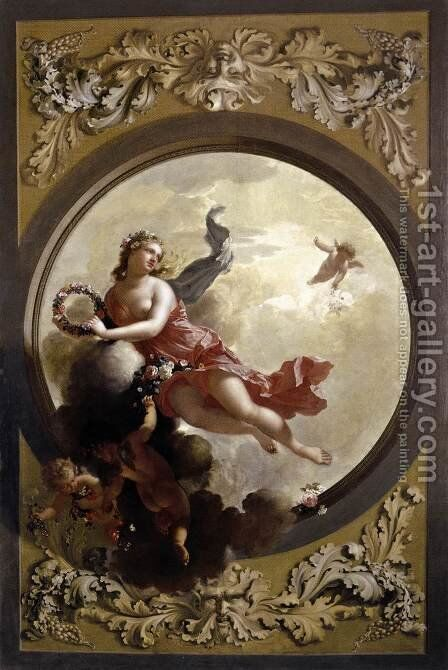 Flora with Putti Strewing Flowers 1696 by Adriaen Van Der Werff - Reproduction Oil Painting