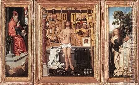 Triptych of Abbot Antonius Tsgrooten 1507 by Goossen van der Weyden - Reproduction Oil Painting