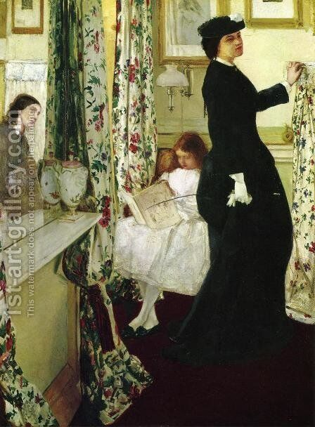 Harmony in Green and Rose- The Music Room 1860-61 by James Abbott McNeill Whistler - Reproduction Oil Painting