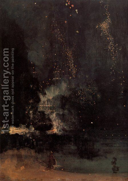 Nocturne in Black and Gold- The Falling Rocket  1875 by James Abbott McNeill Whistler - Reproduction Oil Painting