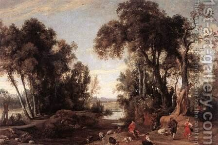 Landscape with Shepherds 1631 by Jan Wildens - Reproduction Oil Painting
