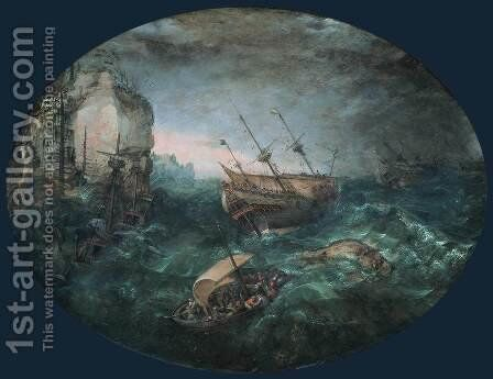Shipwreck off a Rocky Coast 1614 by Abraham Willaerts - Reproduction Oil Painting