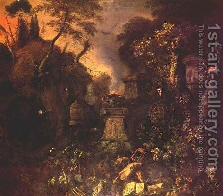 Landscape with a Graveyard by Night by Mathias Withoos - Reproduction Oil Painting