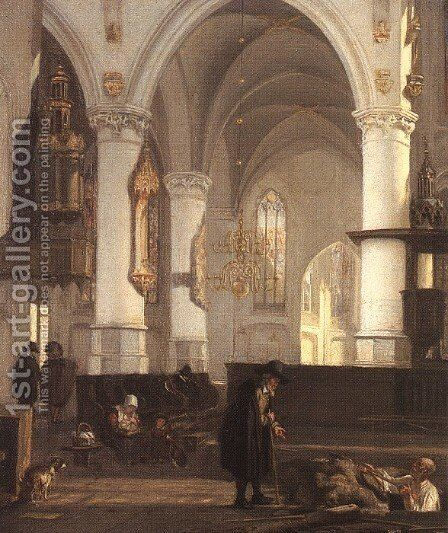 Interior of the Oude Kerk at Amsterdam from the North Aisle to the East by Emanuel de Witte - Reproduction Oil Painting