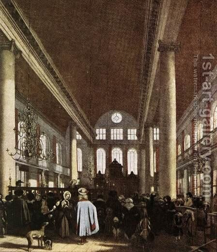 Interior of the Portuguese Synagogue in Amsterdam by Emanuel de Witte - Reproduction Oil Painting
