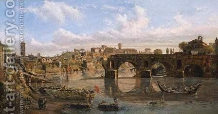Rome- View of the River Tiber with the Ponte Rotto and the Aventine Hill 1680s by Caspar Andriaans Van Wittel - Reproduction Oil Painting