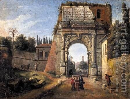 Rome-View of the Arch of Titus 1710s by Caspar Andriaans Van Wittel - Reproduction Oil Painting