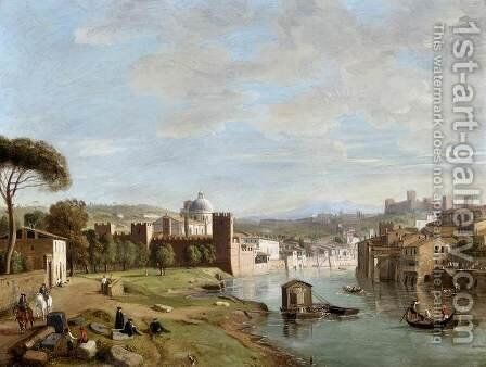 Verona- A View of the River Adige at San Giorgio in Braida 1710s by Caspar Andriaans Van Wittel - Reproduction Oil Painting