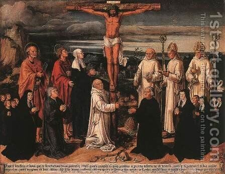 Christ on the Cross with Carthusian Saints 1535 by Anton Woensam Von Worms - Reproduction Oil Painting
