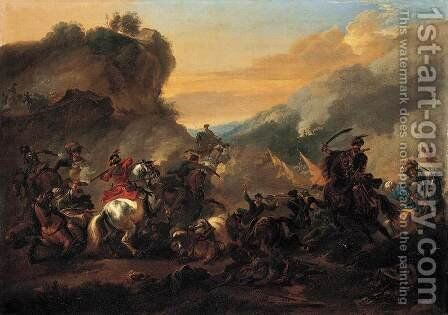A Cavalry Battle Scene by Jan Wyck - Reproduction Oil Painting