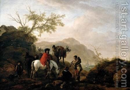 Scene on a Rocky Road 1648-49 by Philips Wouwerman - Reproduction Oil Painting