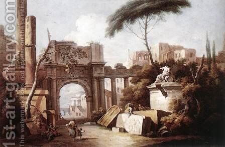 Ancient Ruins with a Great Arch and a Column 1735-40 by Giuseppe Zais - Reproduction Oil Painting