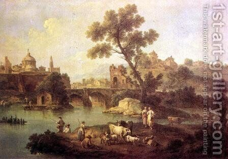 Landscape with River and Bridge c. 1740 by Giuseppe Zais - Reproduction Oil Painting