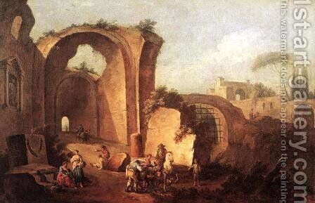 Landscape with Ruins and Archway 1730 by Giuseppe Zais - Reproduction Oil Painting