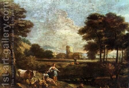 Landscape with Shepherds and Fishermen by Giuseppe Zais - Reproduction Oil Painting