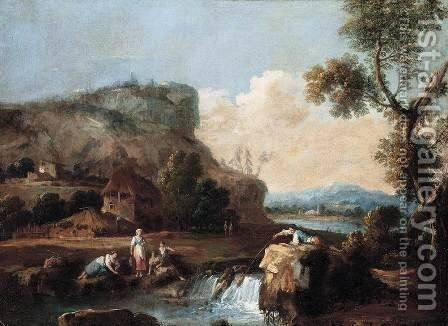Pastoral Landscape by Giuseppe Zais - Reproduction Oil Painting