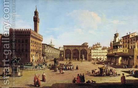The Piazza della Signoria in Florence by Giuseppe Zocchi - Reproduction Oil Painting