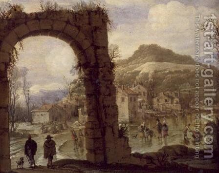 Winter Scene with an Arch by - AB. C. - Reproduction Oil Painting