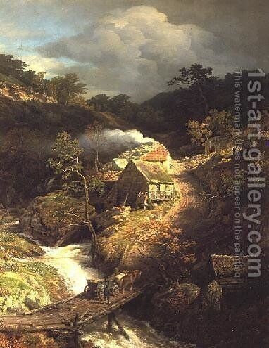 A mountainous landscape with a torrent by Andreas Achenbach - Reproduction Oil Painting