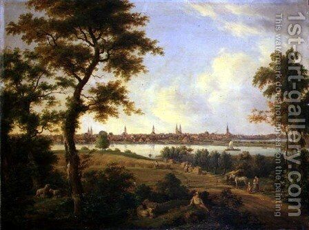 View of Lubeck 1869 by Andreas Achenbach - Reproduction Oil Painting