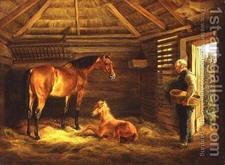 English Mare With Her Foals  1833 by Adam Albrecht - Reproduction Oil Painting