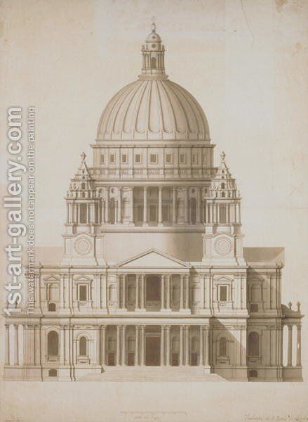 The facade of St. Paul's, London by Antonio Adami - Reproduction Oil Painting