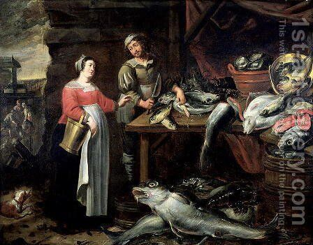 The Fishmonger by Alexander Adriaenssen - Reproduction Oil Painting