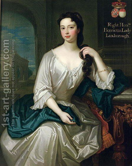 Portrait of Henrietta, daughter of Henry, 1st Viscount St. John, married in 1727 Robert Knight, created Baron Luxborough of Shannon in 1745 by Charles d' Agar - Reproduction Oil Painting