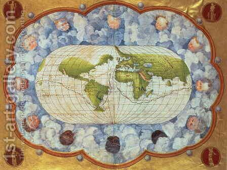 Map tracing Magellan's world voyage, once owned by Charles V, 1545 by Battista Agnese - Reproduction Oil Painting