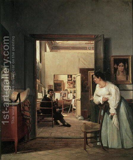 The Studio of Ingres in Rome 1818 by Jean Alaux - Reproduction Oil Painting