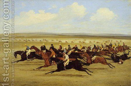 The 1850 Cambridgeshire Stakes- The Start by Henry Thomas Alken - Reproduction Oil Painting