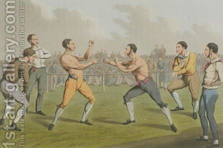 A Prize Fight, aquatinted by I. Clark, pub. by Thomas McLean, 1820 by Henry Thomas Alken - Reproduction Oil Painting