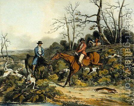 Breaking Cover, from 'Fox Hunting', engraved by Thomas Sutherland by Henry Thomas Alken - Reproduction Oil Painting