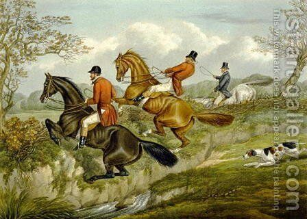 Scrambling Over a Hedge, plate from 'The Right and The Wrong Sort', in Fores Hunting Sketches 1859 by Henry Thomas Alken - Reproduction Oil Painting