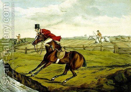 Stopping at Water, from 'Qualified Horses and Unqualified Riders', 1815 by Henry Thomas Alken - Reproduction Oil Painting
