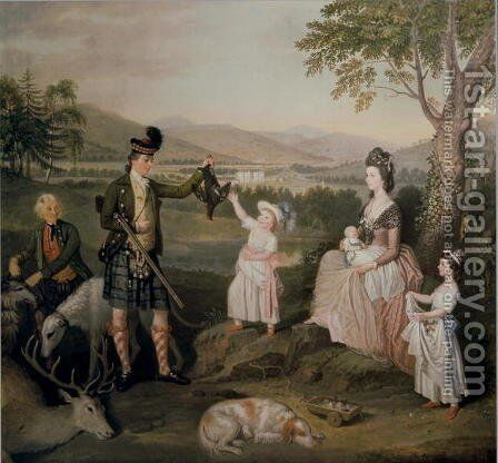 John, the 4th Duke of Atholl and his family, 1780 by David Allan - Reproduction Oil Painting