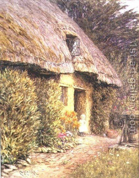 A Child at the Doorway of a Thatched Cottage by Helen Mary Elizabeth Allingham, R.W.S. - Reproduction Oil Painting