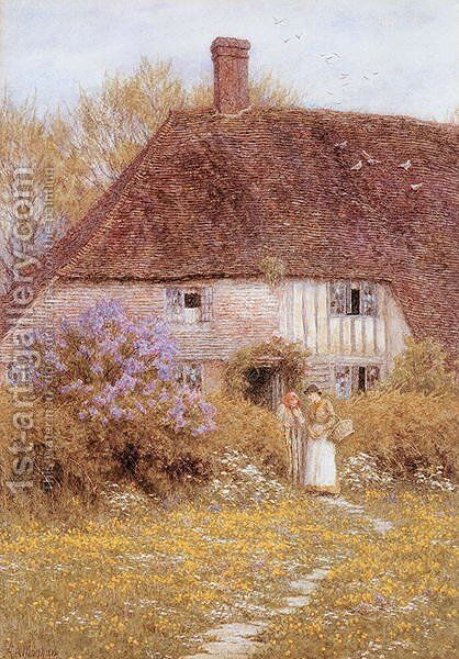 A Kentish Cottage by Helen Mary Elizabeth Allingham, R.W.S. - Reproduction Oil Painting