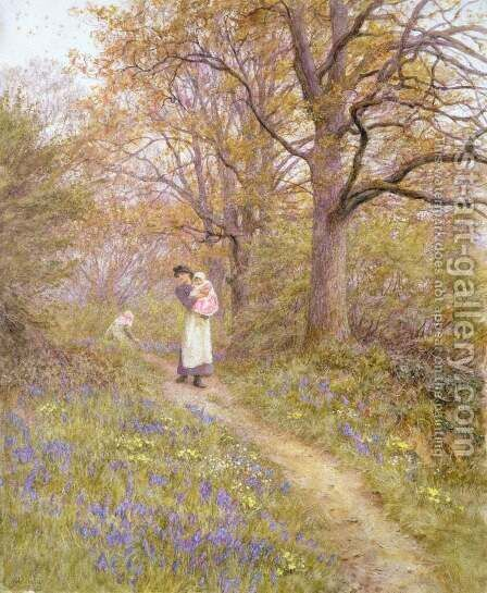 Bluebells by Helen Mary Elizabeth Allingham, R.W.S. - Reproduction Oil Painting