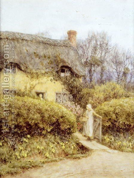 Cottage near Freshwater by Helen Mary Elizabeth Allingham, R.W.S. - Reproduction Oil Painting