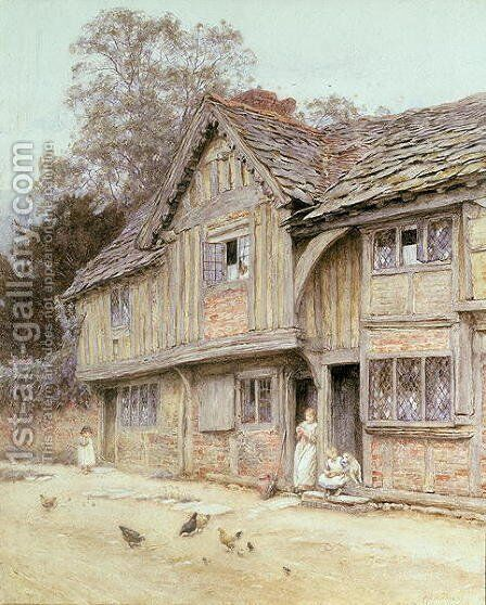 Outside a Timbered Cottage by Helen Mary Elizabeth Allingham, R.W.S. - Reproduction Oil Painting