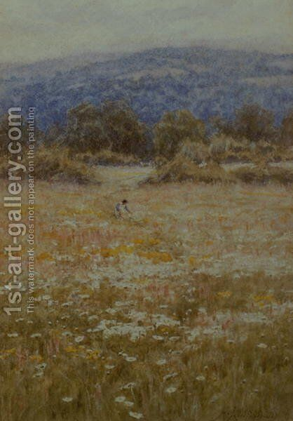 Picking Daisies at Westerham, Kent by Helen Mary Elizabeth Allingham, R.W.S. - Reproduction Oil Painting
