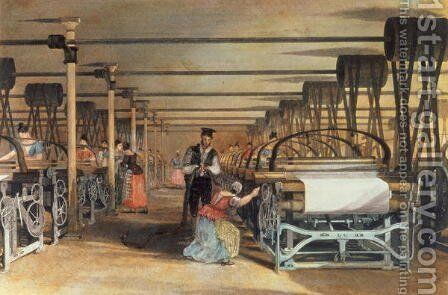 Power loom weaving, 1834 by Thomas Allom - Reproduction Oil Painting