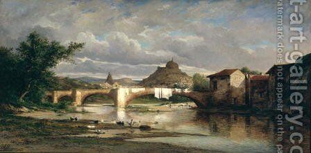 View of Puy-en-Velay from Espaly, 1872 by Auguste Allonge - Reproduction Oil Painting