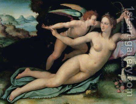 Venus and Cupid (2) by Alessandro Allori - Reproduction Oil Painting