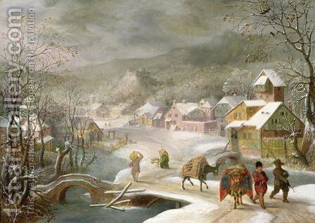 A Winter Landscape with Travellers on a Path by Denys Van Alsloot - Reproduction Oil Painting