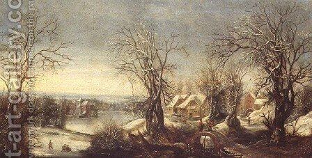 An extensive wooded landscape in winter with skaters on a frozen waterway, a pilgrim and shrine beyond by Denys Van Alsloot - Reproduction Oil Painting