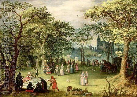 Landscape with 'fete galante' by Denys Van Alsloot - Reproduction Oil Painting