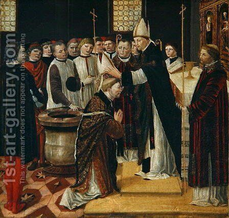 Ordination of St. Augustine by Ambrogio Borgognone - Reproduction Oil Painting